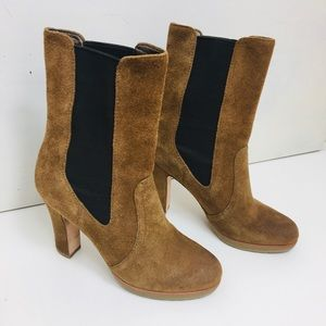 Talbots suede brown heeled boots size 6